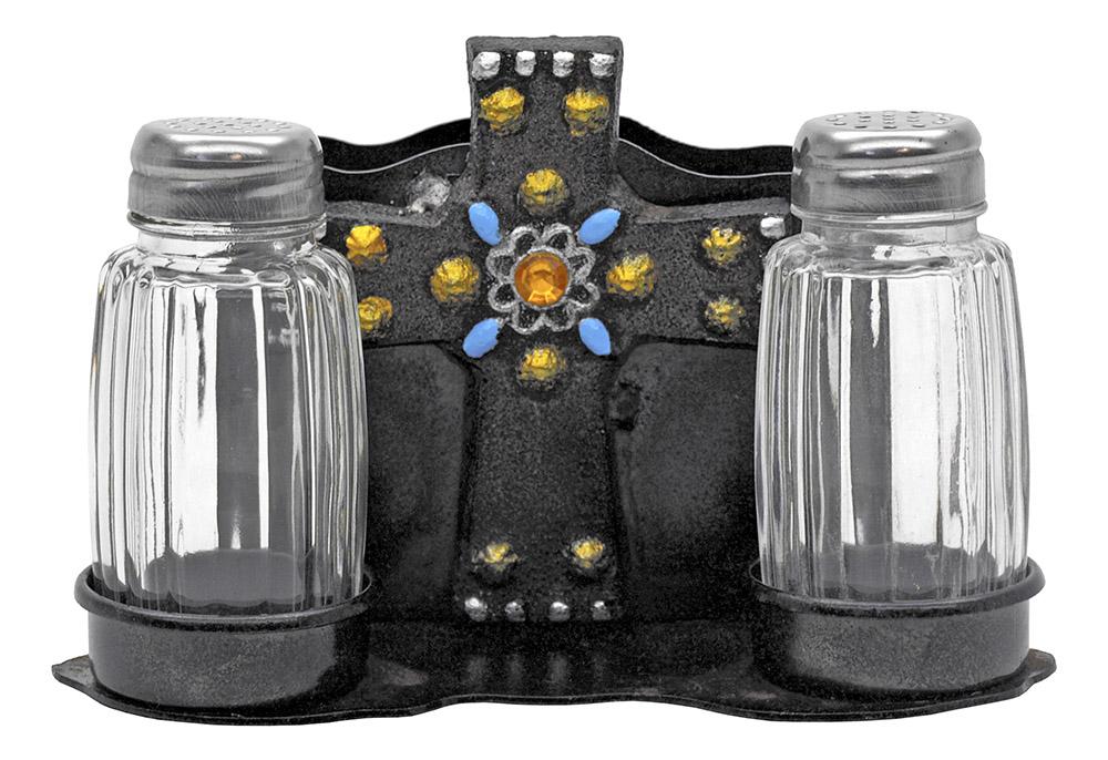 Metal Cross - Salt and Pepper Holder