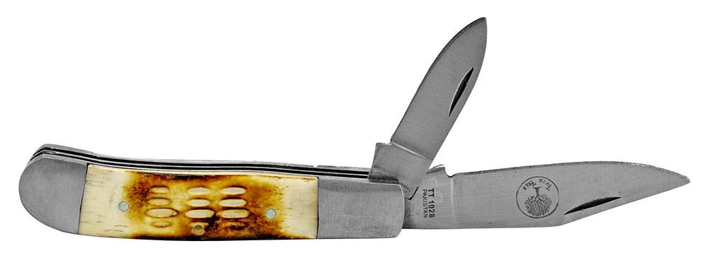 4 in Dual Length Blades Pocket Knife - Bone