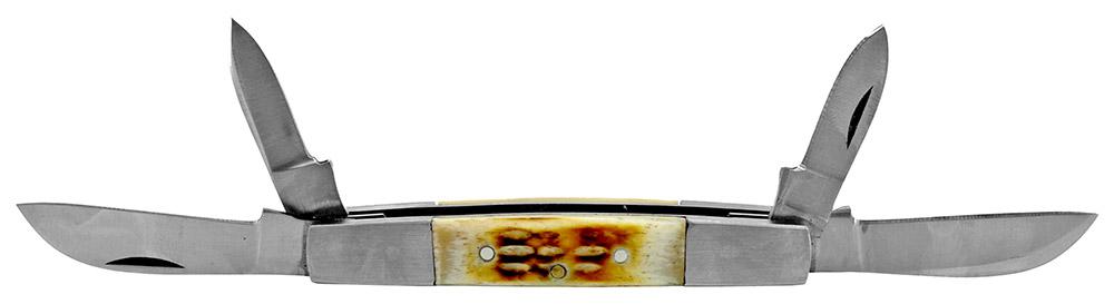 3.75 in Quad Blade Pocket Knife - Bone