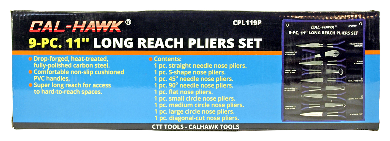 Cal-Hawk 9-pc. 11 in Long Reach Pliers Set