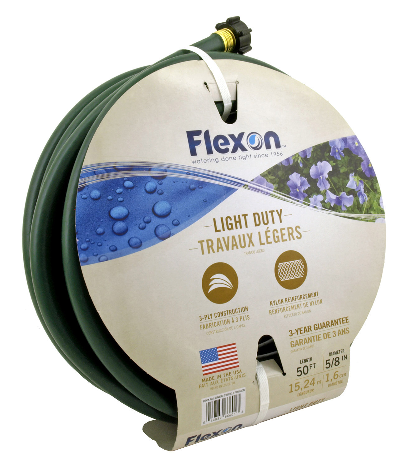 50' Light Duty 3 Ply 5/8 in Flexon Garden Hose - Green