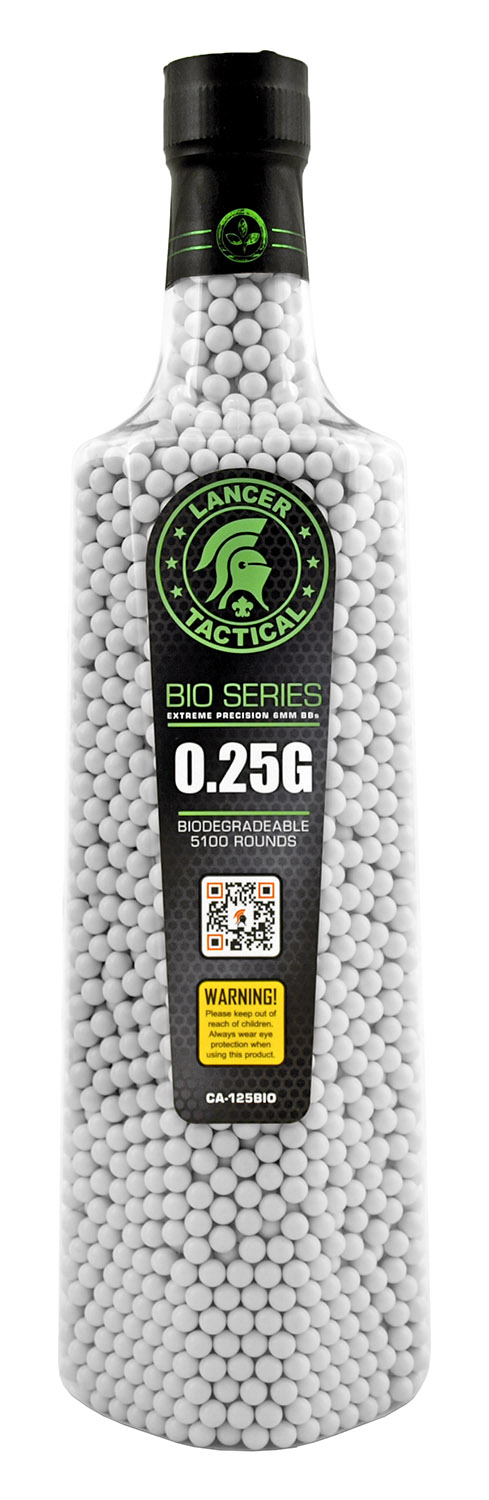 5,100 ct. Lancer Tactical Bio Series Competition Biodegradable .25g Airsoft Plastic BB's