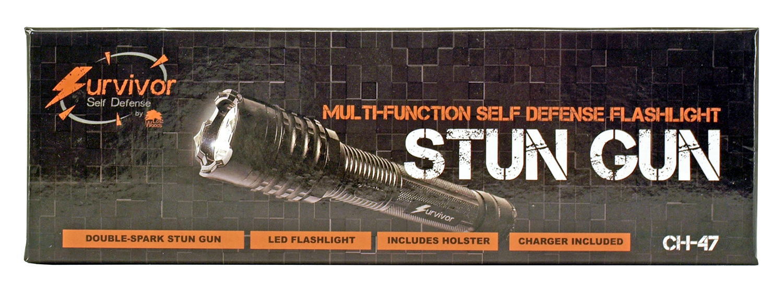 Survivor Multi-Function Self Defense Flashlight Stun Gun - Black