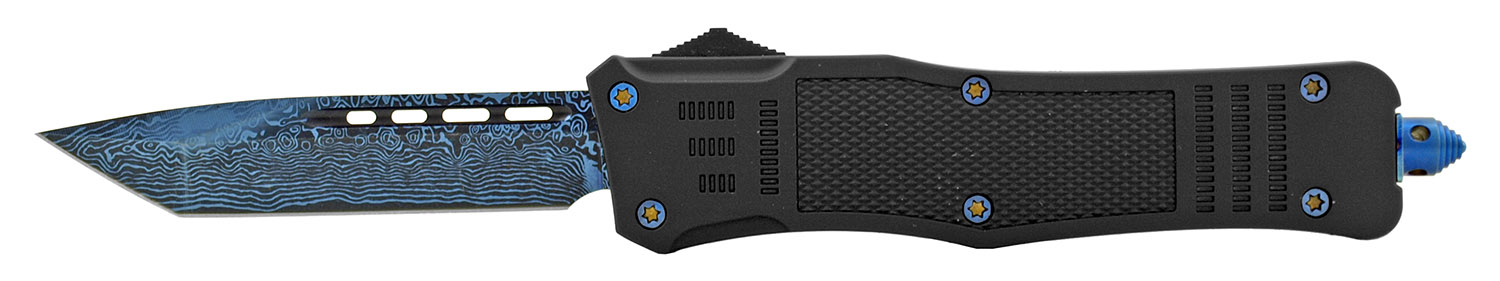 5.75 in Tactical Grip Out the Front Automatic OTF Folding Pocket Knife - Black and Blue
