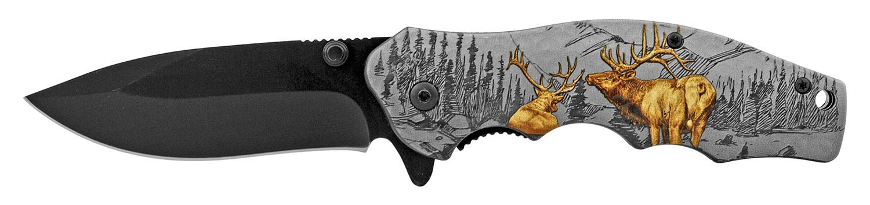 4.5 in The Original Folding Pocket Knife with Belt Clip - Deer