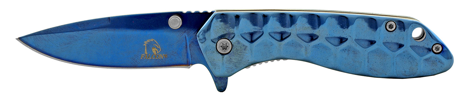 3.75 in Solid All Stainless Steel Full Metal Folding Pocket Knife - Blue