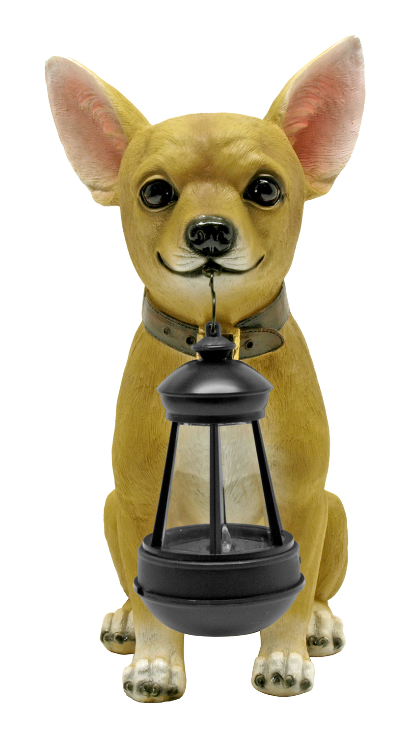 Little Light Keeper - Chihuahua Statue Figurine with Solar Lantern