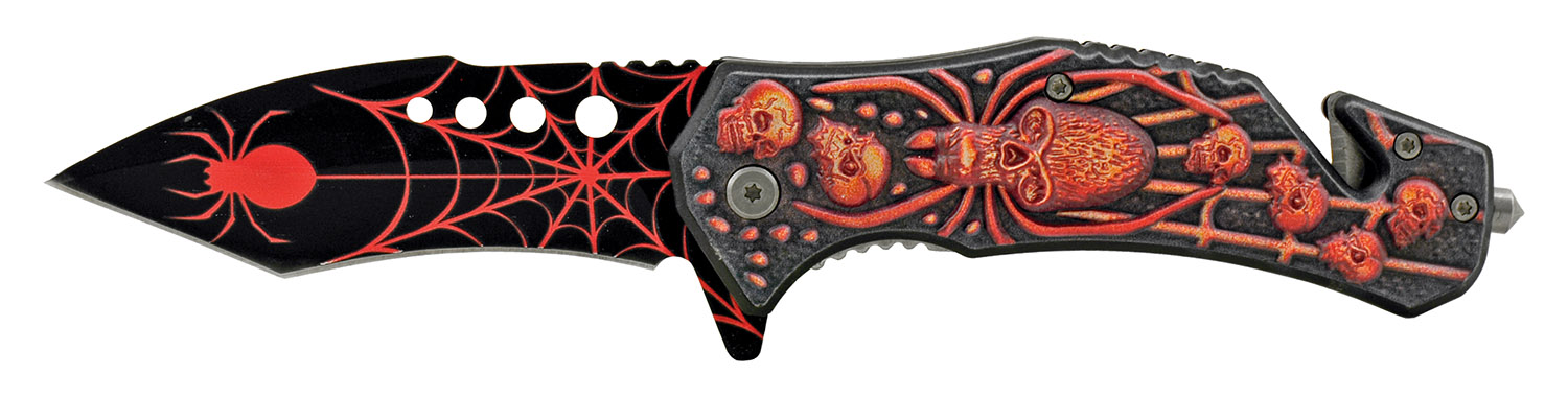 5 in 3D Embossed Tarantula Spider Death's Head Skull Spring Assisted Folding Pocket Knife - Red
