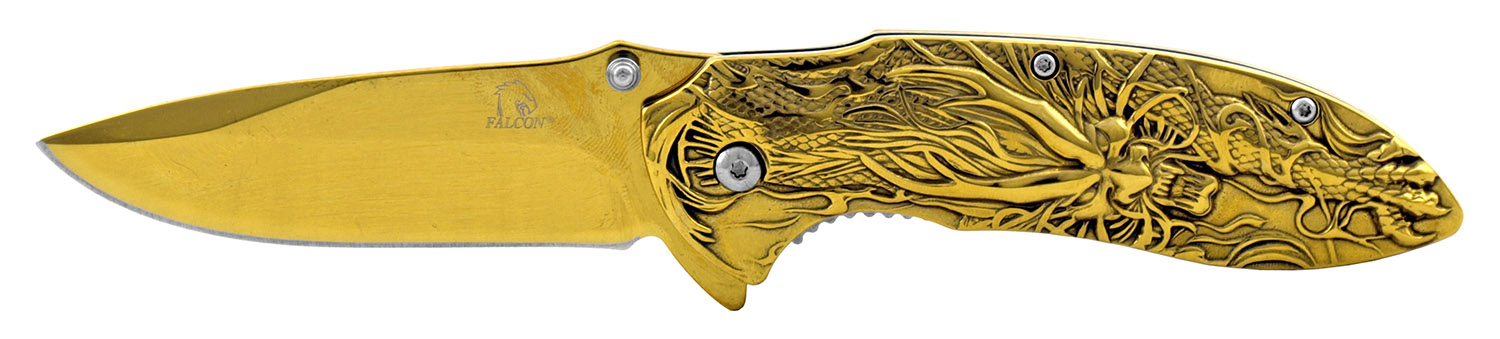 4.5 in Solid Metal Stainless Steel 3D Embossed Angry Dragon Folding Pocket Knife with Belt Clip - Golden