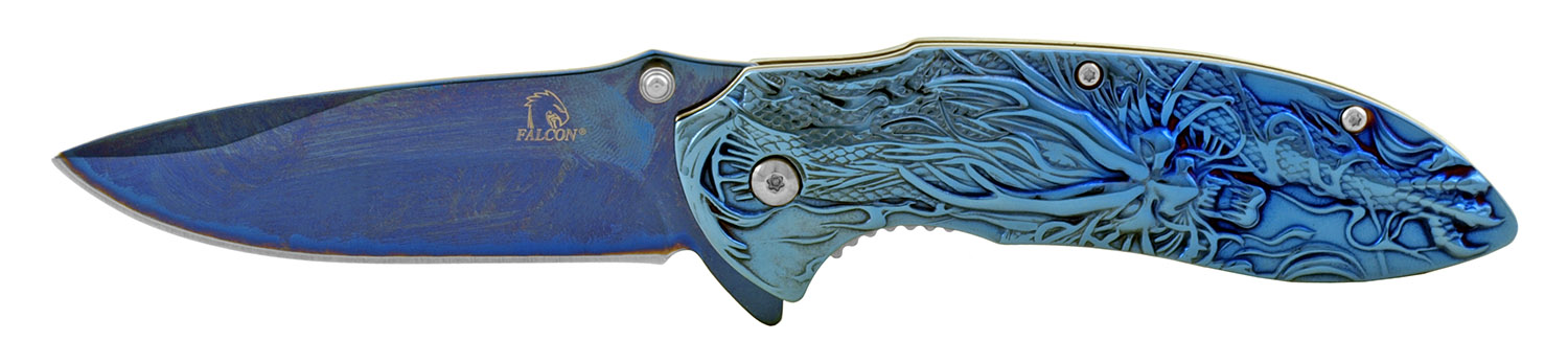 4.5 in Solid Metal Stainless Steel 3D Embossed Angry Dragon Folding Pocket Knife with Belt Clip - Blue