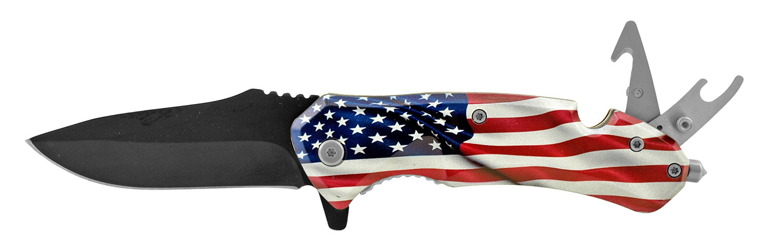 5 in Swiss Army Style Folding Pocket Knife with Bottle Top Opener - Flag of the United States of America