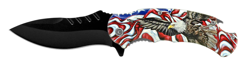 4.75 in Large Folding Pocket Knife with Bottle Opener - American Eagle