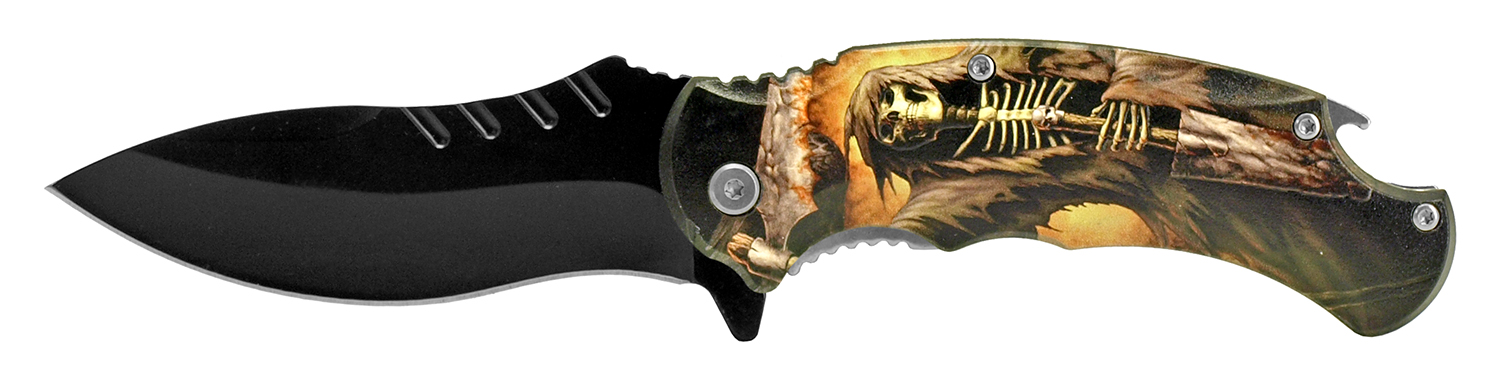 4.75 in Large Folding Pocket Knife with Bottle Opener - Grim Reaper