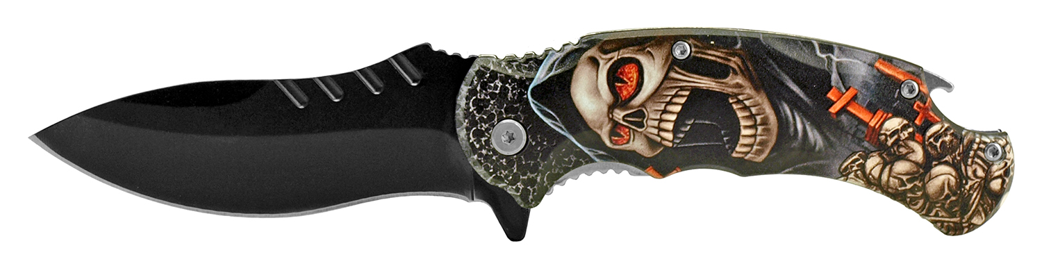 4.75 in Large Folding Pocket Knife with Bottle Opener - Skull Reaper
