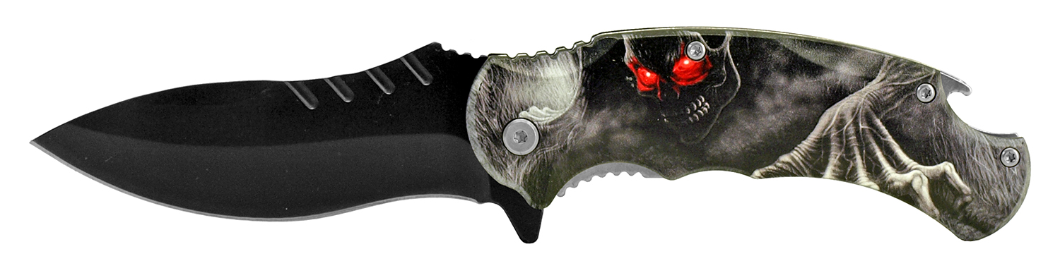 4.75 in Large Folding Pocket Knife with Bottle Opener - Demon Skull