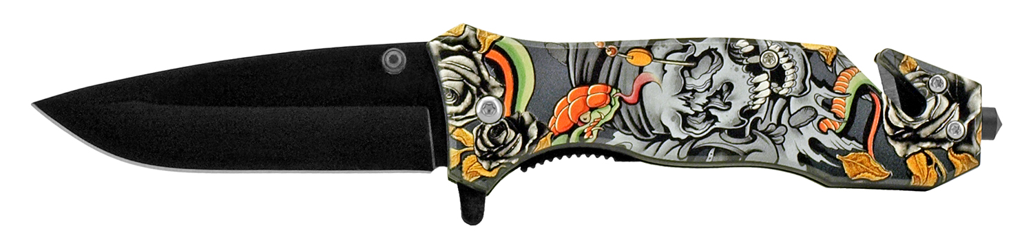 4.5 in Spring Assisted Rescue Knife - Skull Art