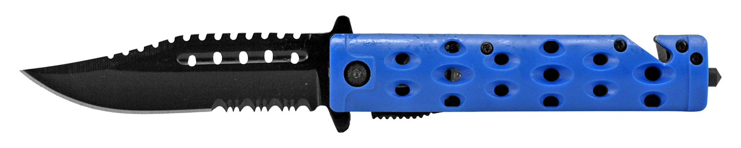 4.75 in Spring Assisted Rescue Folding Pocket Knife - Blue