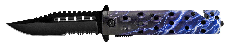 4.75 in Spring Assisted Rescue Folding Pocket Knife - Lightening