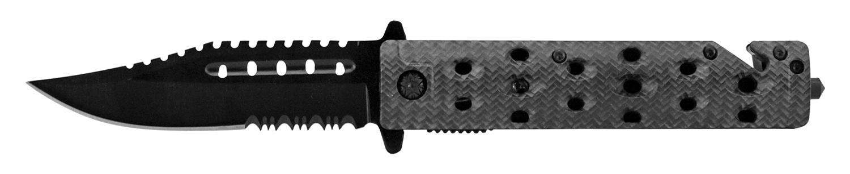 4.75 in Spring Assisted Rescue Folding Pocket Knife - Carbon Fiber