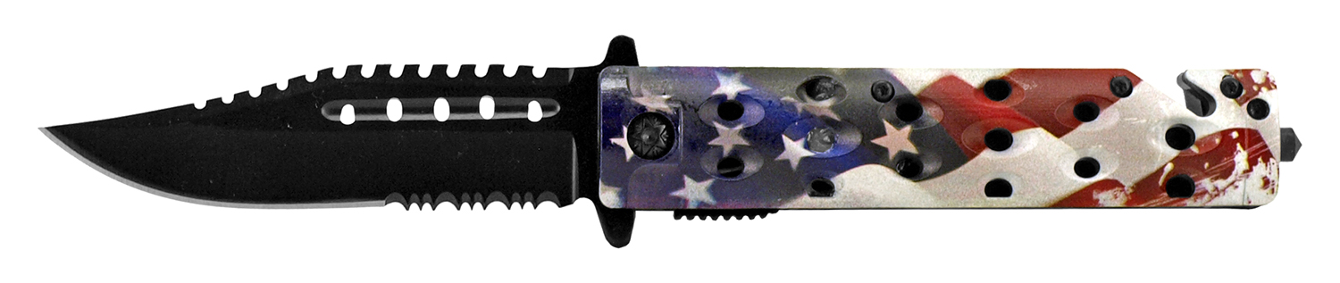 4.75 in Spring Assisted Rescue Folding Pocket Knife - United States Flag