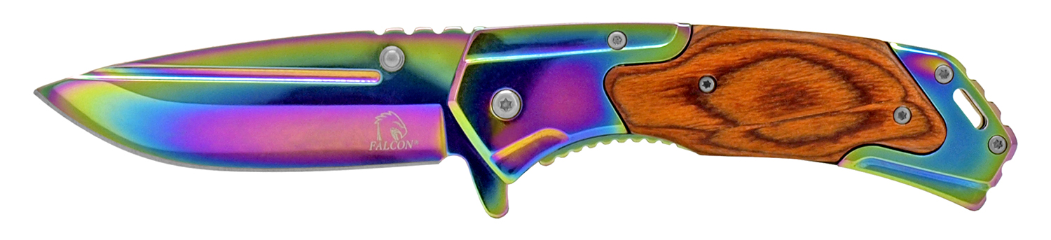 4.5 in Western Spring Assisted Folding Knife - Titanium and Wood
