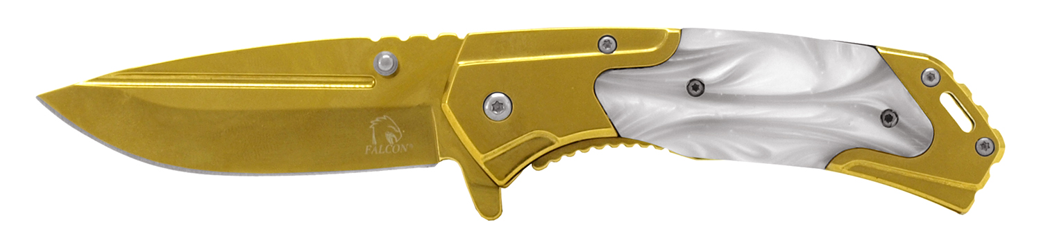 4.5 in Western Spring Assisted Folding Knife - Gold and Faux Marble
