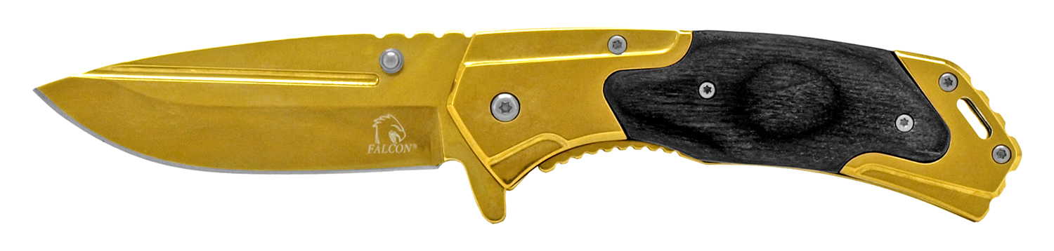 4.5 in Western Spring Assisted Folding Knife - Gold and Wood