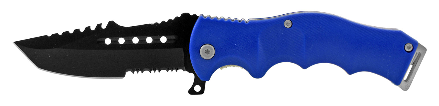 4.88 in Molded Grip Handle Folding Pocket Knife with Serrated Blade - Blue