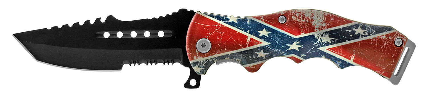 4.88 in Molded Grip Handle Folding Pocket Knife with Serrated Blade - Confederate Flag