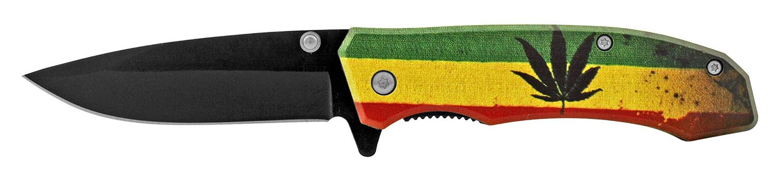 4 in Classic Style Folding Pocket Knife - Mary Jane Leaf Rasta Flag