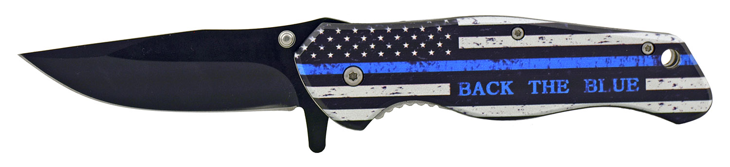 4.75 in Simple Sturdy Folding Pocket Knife with Spring Assistance - Thin Blue Line American Flag