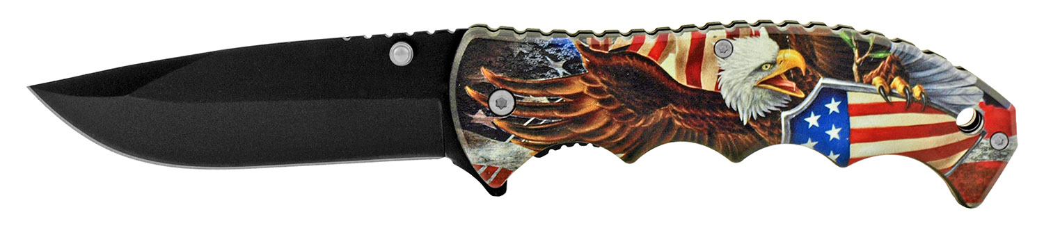 4.88 in The Sturdy Patriot a Patriotic American Spring Assisted Folding Pocket Knife - Eagle Shield US Flag