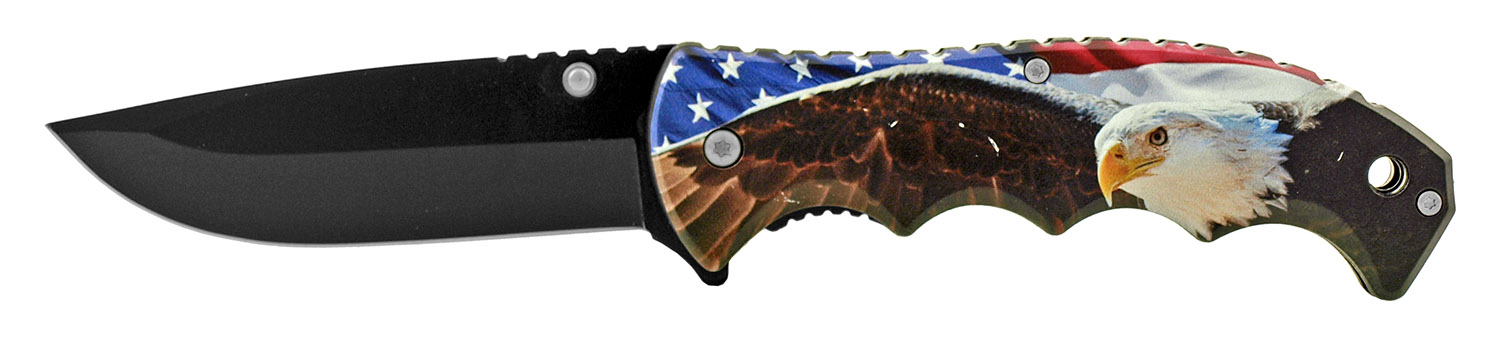 4.88 in The Sturdy Patriot a Patriotic American Spring Assisted Folding Pocket Knife - Eagle US Flag