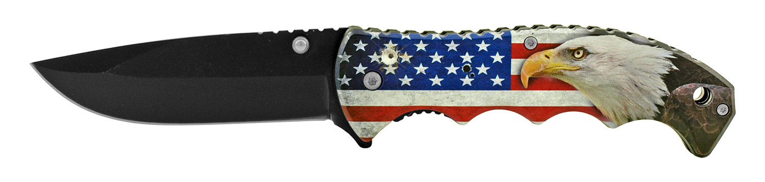4.88 in The Sturdy Patriot a Patriotic American Spring Assisted Folding Pocket Knife - United States Flag Eagle