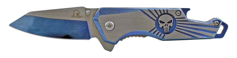 4 in Stainless Steel Heavy Duty Folding Pocket Knife with Bottle Opener Handle - Blue