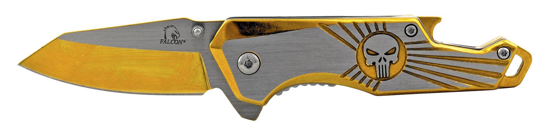 4 in Stainless Steel Heavy Duty Folding Pocket Knife with Bottle Opener Handle - Gold