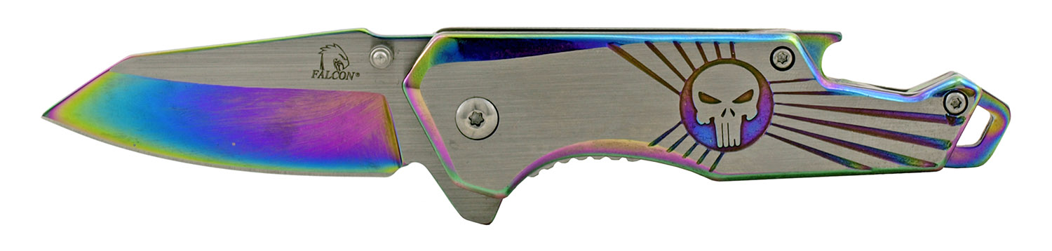 4 in Stainless Steel Heavy Duty Folding Pocket Knife with Bottle Opener Handle - Titanium
