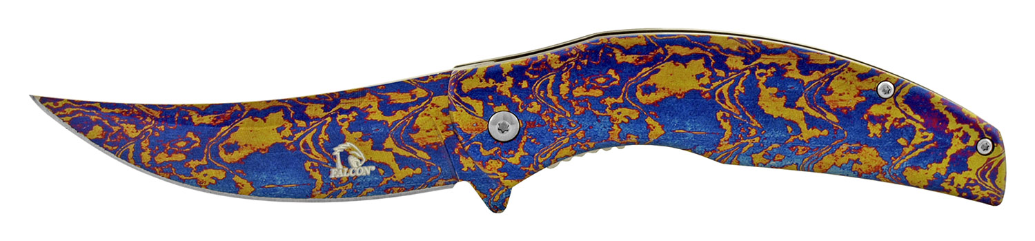 4.75 in Full Metal Trailing Point Skinner Folding Pocket Knife - Blue and Gold