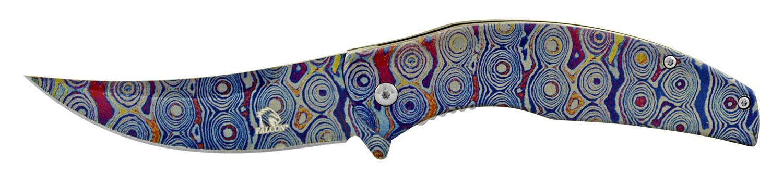 4.75 in Full Metal Trailing Point Skinner Folding Pocket Knife - Blue Iris