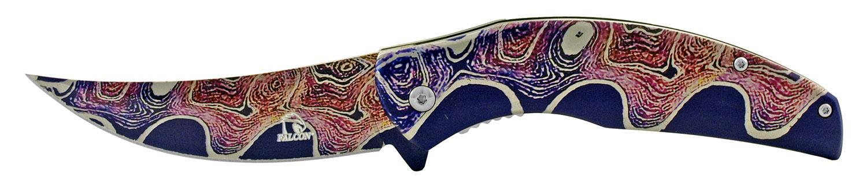 4.75 in Full Metal Trailing Point Skinner Folding Pocket Knife - Black Wave