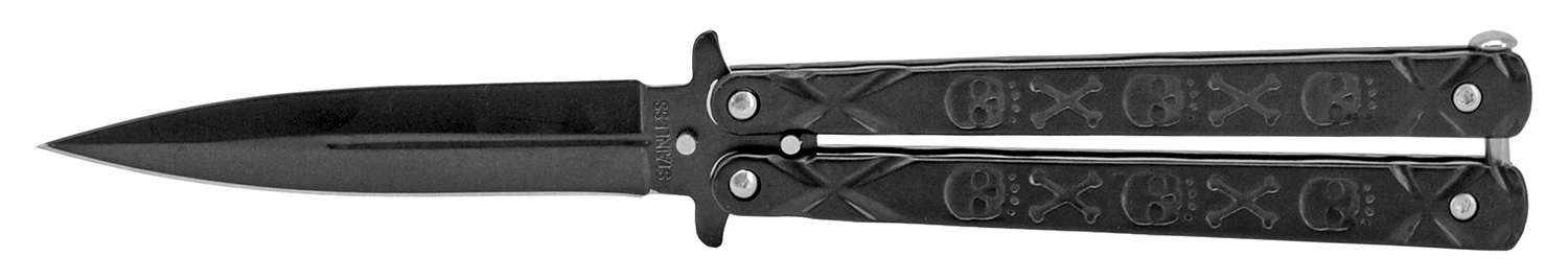5 in Skull and Bones Butterfly Knife - Black