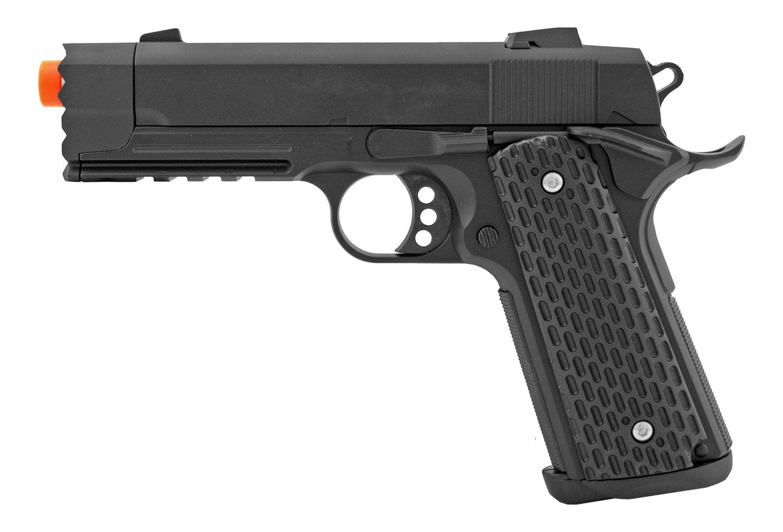 Golden Hawk GE3008 Zinc M1911 Tactical Spring Powered Airsoft Pistol - Black