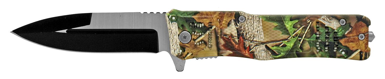 5 in Tech Spec Folding Pocket Knife with Glass Breaker - Woodland Leaf Camo