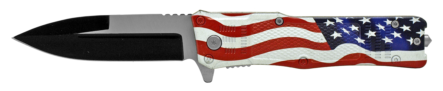 5 in Tech Spec Folding Pocket Knife with Glass Breaker - United States Flag