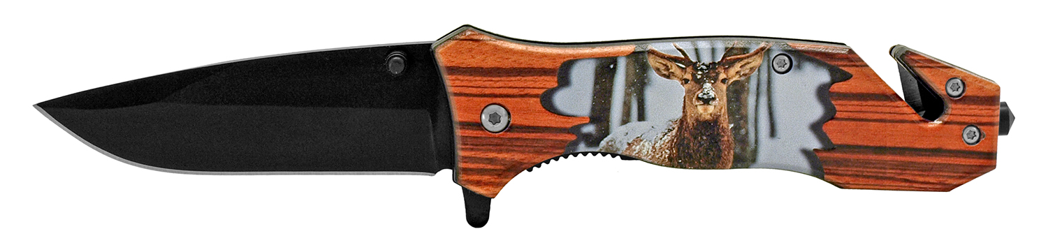 4.5 in Outdoorsman Rescue Folding Pocket Knife - Deer