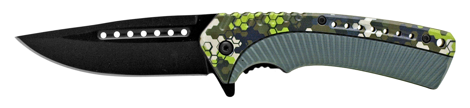 4.75 in Traditional Hunting Folding Pocket Knife - Hexagon Camo and Green