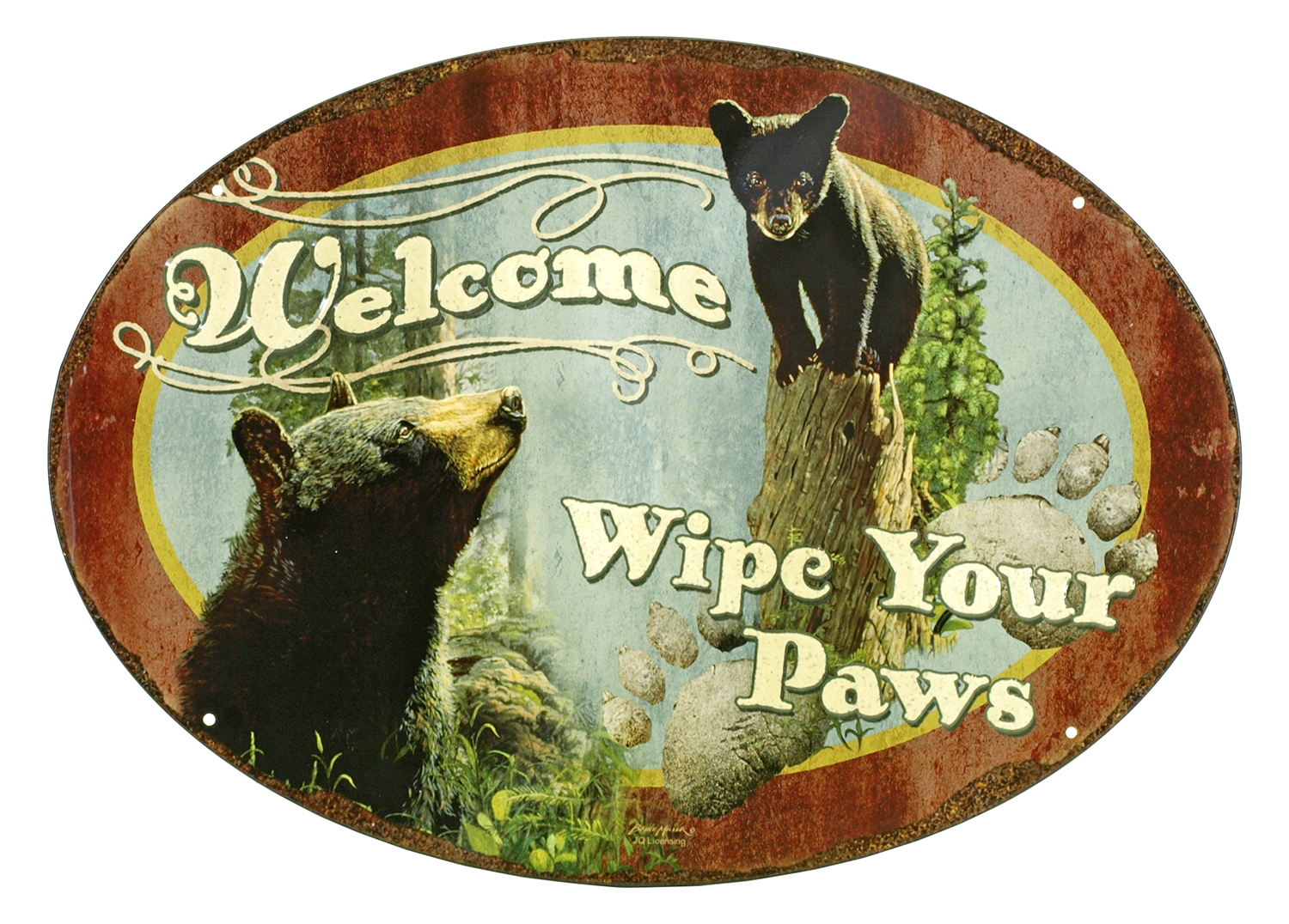 Welcome, Wipe Your Paws Oval Metal Sign