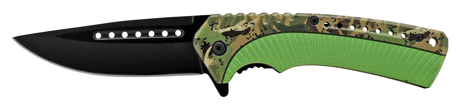 4.75 in Traditional Hunting Folding Pocket Knife - Woodland Camo and Green