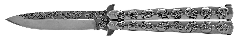 5 in Stainless Steel Skull Butterfly Folding Pocket Knife - Chrome