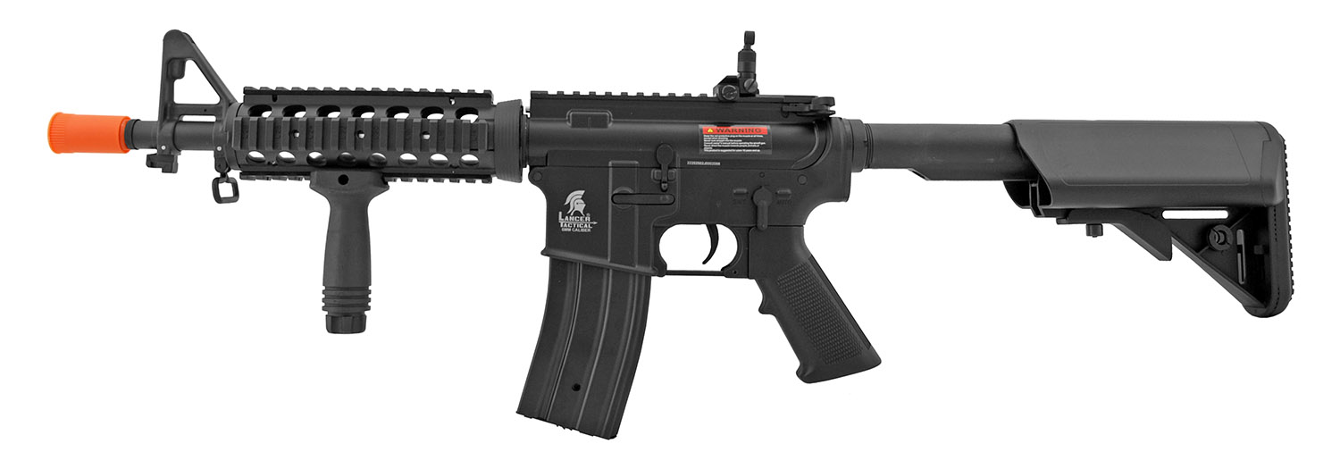 Lancer Tactical Full Metal AR-15 Style M4 AEG Airsoft Assault Rifle with Collapsible Stock - Black